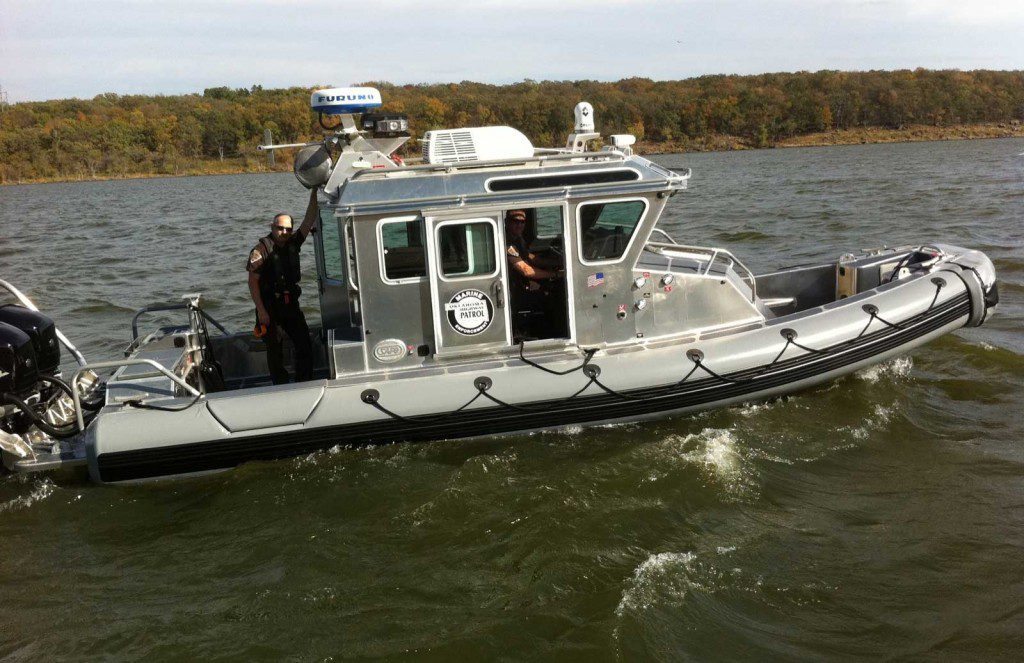 The Oklahoma Highway Patrol Marine Enforcement Division helps enforce boating safety laws. Photo courtesy of the Oklahoma Department of Public Safety.