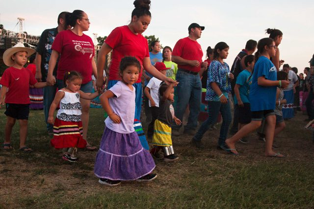 Stomp dancing is an important part of the Muscogee (Creek) Nation's heritage. Photos by Amanda Rutland, Muscogee (Creek) Nation Office of Public Relations.