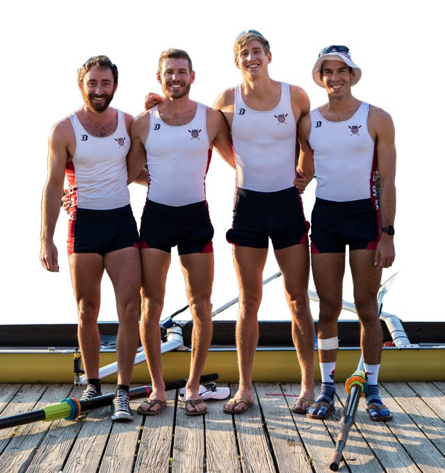 Anthony Fahden, Tyler Nase, Edward King, and Robin Prendes practicing at the U.S. Rowing Training Center in Oklahoma City. Photo courtesy US Rowing.
