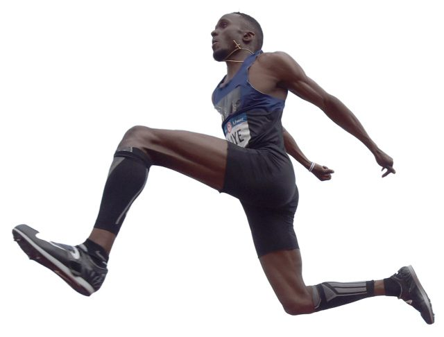 Will Claye soars above the competition to win the triple jump at the 2016 U.S. Olympic Team Trials at Hayward Field. Photo courtesy USATF