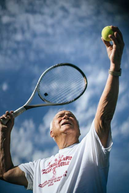 Barry Kinsey of Tulsa has won national medals in tennis doubles. On top of that, he also volunteers and mentors.