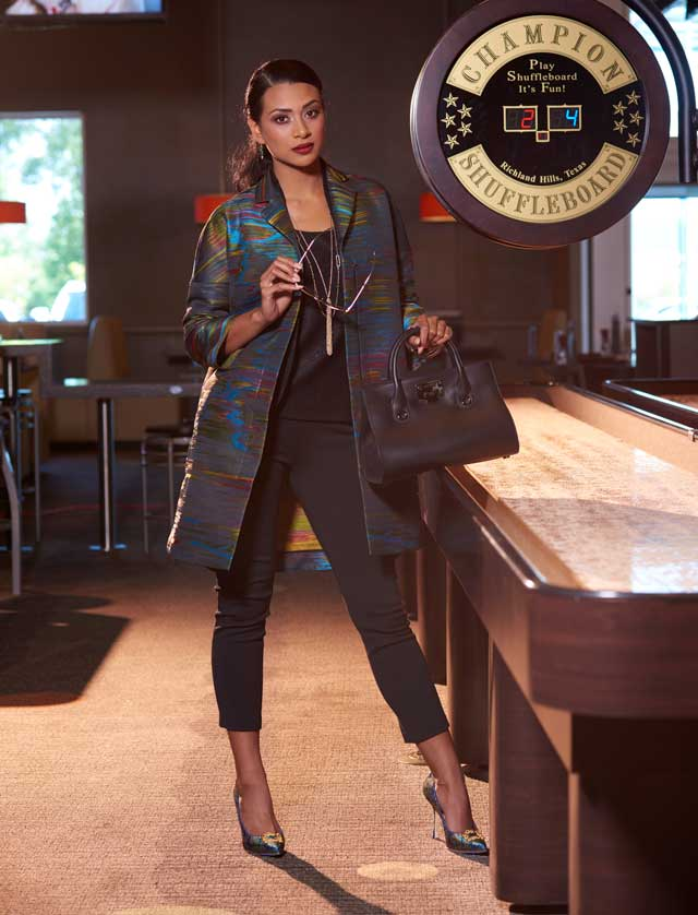 Akris Punto northern light 3/4 sleeve jacket, $1690; St. John shimmer knit top, $495; St. John shimmer knit shawl, $795; St. John stretch pants, $395; Manolo Blahnik multicolored pump, $775; Jimmy Choo smooth leather tote, 1375; Alexis Bittar green gemstone wire earrings, $145; Alexis Bittar crystal tassel necklace, 195; Alexis Bittar crystal-encrusted custom link station necklace, $195; Alexis Bittar faceted bangles in jungle green, white and light blue, $65 each, all from SAKS Fifth Avenue; Masunga lipstick red and gold sunglasses, $399, Hicks Brunson.