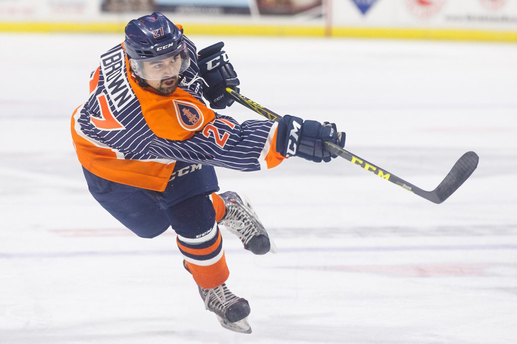 Oilers defenseman Dennis Brown plays against the Wichita Thunder. Photo by Kevin Pyle