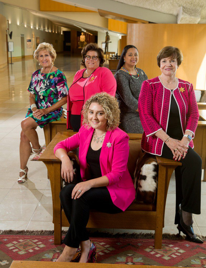 Clockwise from left: Annie Oakley Society Oklahoma Chair Judy Hatfield, Leadership Team Member Mary Ellen Alexander, director Diana Fields, Leadership Team Member Freda Deskin and Whitney Tatum. Photo by Brent Fuchs.