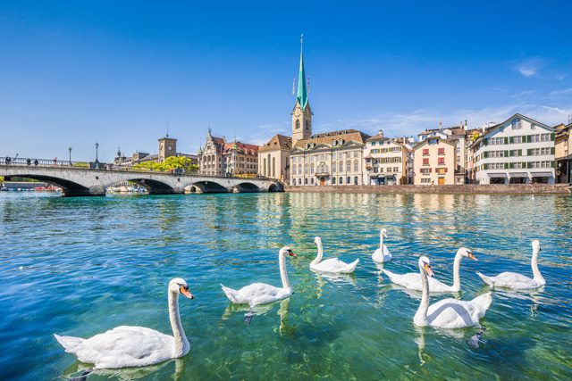 Zurich's city center is ideal for walking tours.