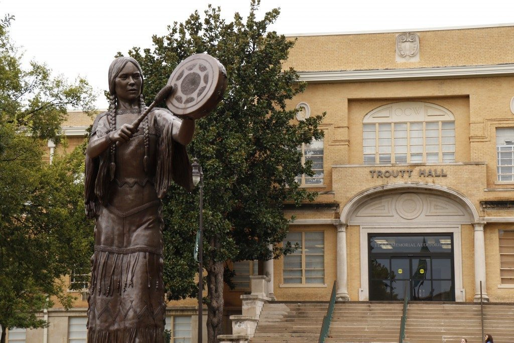 A bronze statue of Chickasaw performaer Te Ata, whose name means Bearer of the Morning, stands outside Troutt Hall at the University of Science and Arts of Oklahoma. Photo courtesy USAO