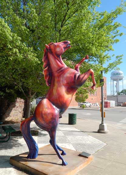 Durant has multiple horse statues lining its lively main street. Photo courtesy Durant Chamber of Commerce.