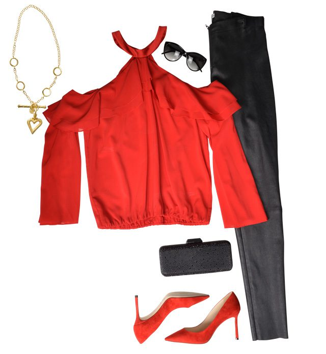 Alice and Olivia cold-shoulder ruffle top, $295; Alice and Olivia front-zip leather leggings, $798; Long rectangular clutch, $250; Jimmy Choo suede point-toe pumps, $595, Saks Fifth Avenue. Circle link necklace with toggle clasp, $9,910; Open heart fob with beading, $5,965, Bruce G. Weber Precious Jewels. Robert Marc black sunglasses, $479, Visions.