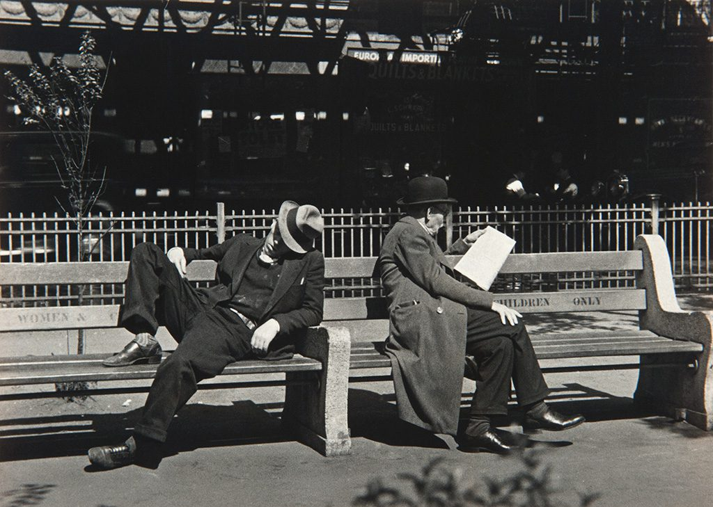 Lusha Nelson Latvian-American, 1907–1938. Men on a Bench, c. 1933–35. Gelatin silver print. Museum purchase