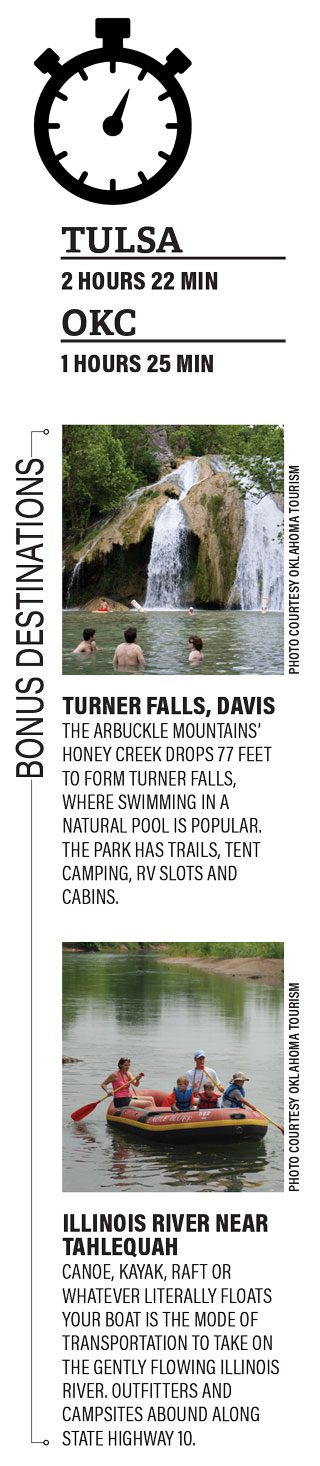 Turner Falls, Davis The Arbuckle Mountains' Honey Creek drops 77 feet to form Turner Falls, where swimming in a natural pool is popular. The park has trails, tent camping, RV slots and cabins. Illinois River near Tahlequah Canoe, kayak, raft or whatever literally floats your boat is the mode of transportation to take on the gently flowing Illinois River. Outfitters and campsites abound along state Highway 10.